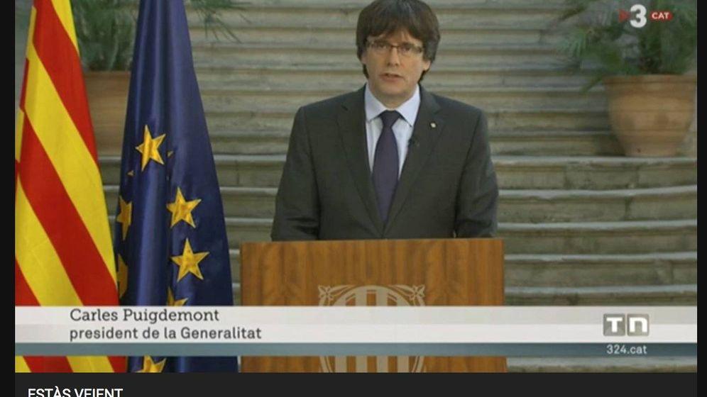 Foto: Carles Puigdemont, en TV3.