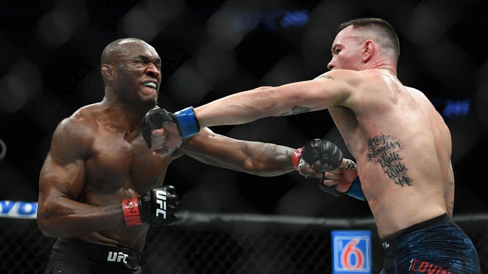 Foto: Kamaru Usman (i) contra Colby Covington este sábado en UFC 245. (USA TODAY Sports)