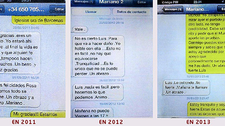 Intercambio de SMS entre Rajoy y Bárcenas.