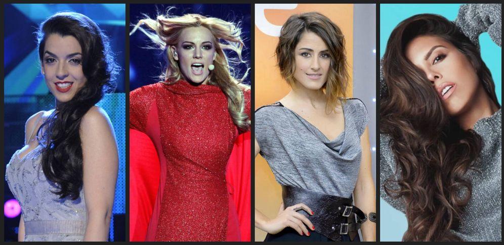 Foto: Exrepresentantes de 'Eurovisión'. (Montaje para El Confi TV)