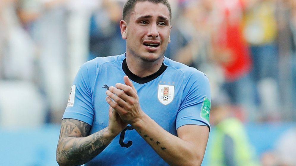 Foto: Las lágrimas de Giménez en el Uruguay-Francia de cuartos de final. (Reuters)