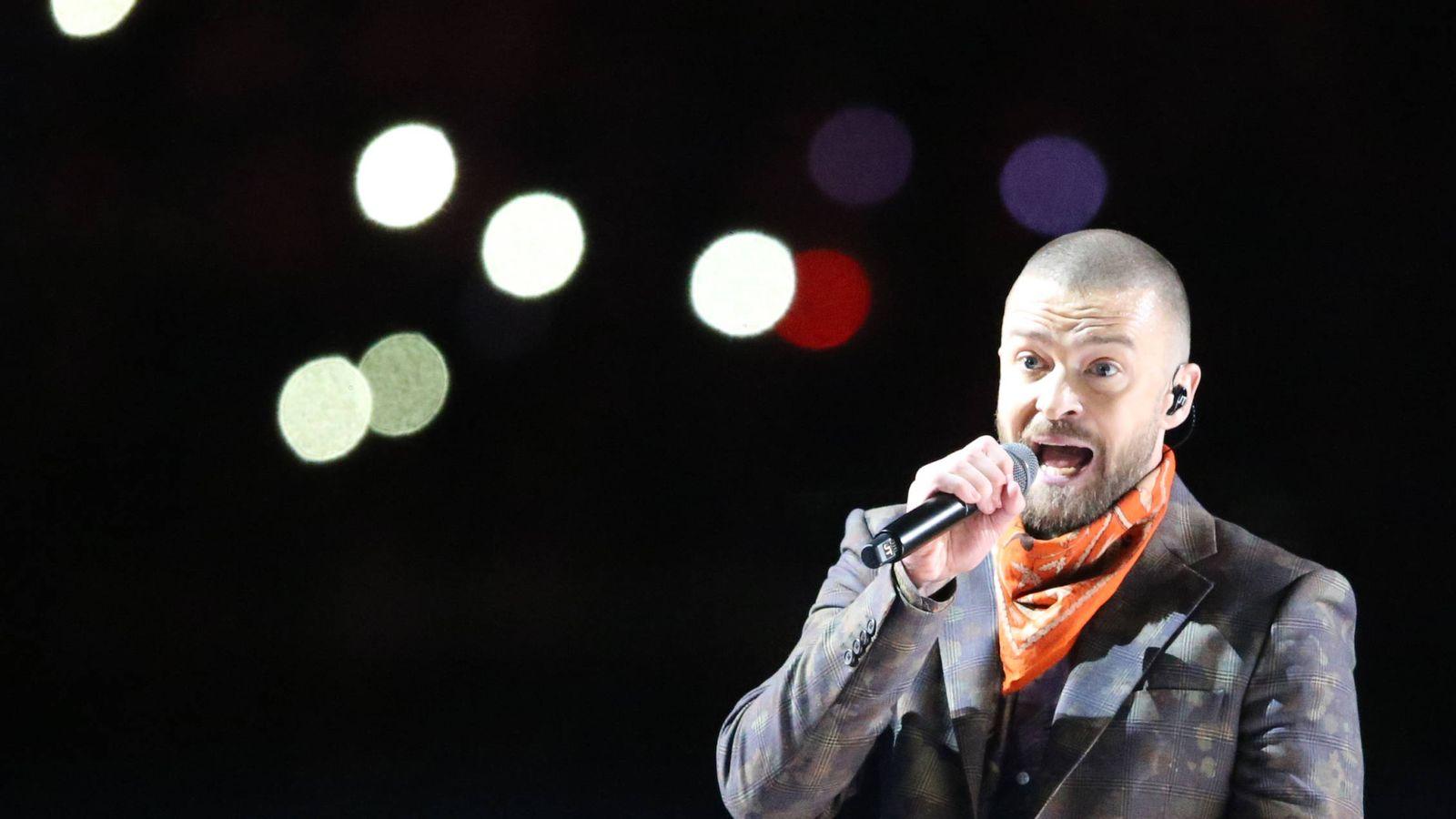 Foto: Justin Timberlake en el descanso de la Super Bowl. (Reuters)