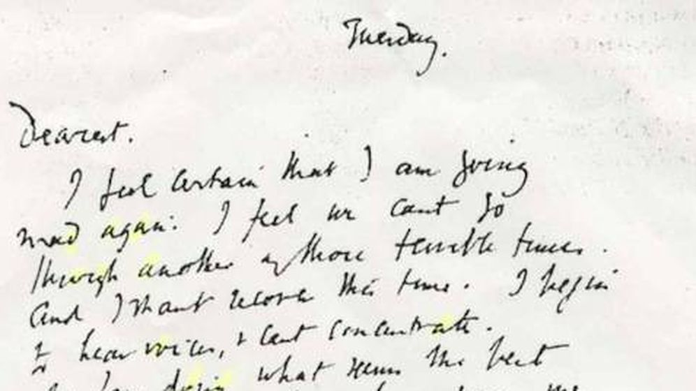 Foto: Carta de suicidio de Virginia Woolf