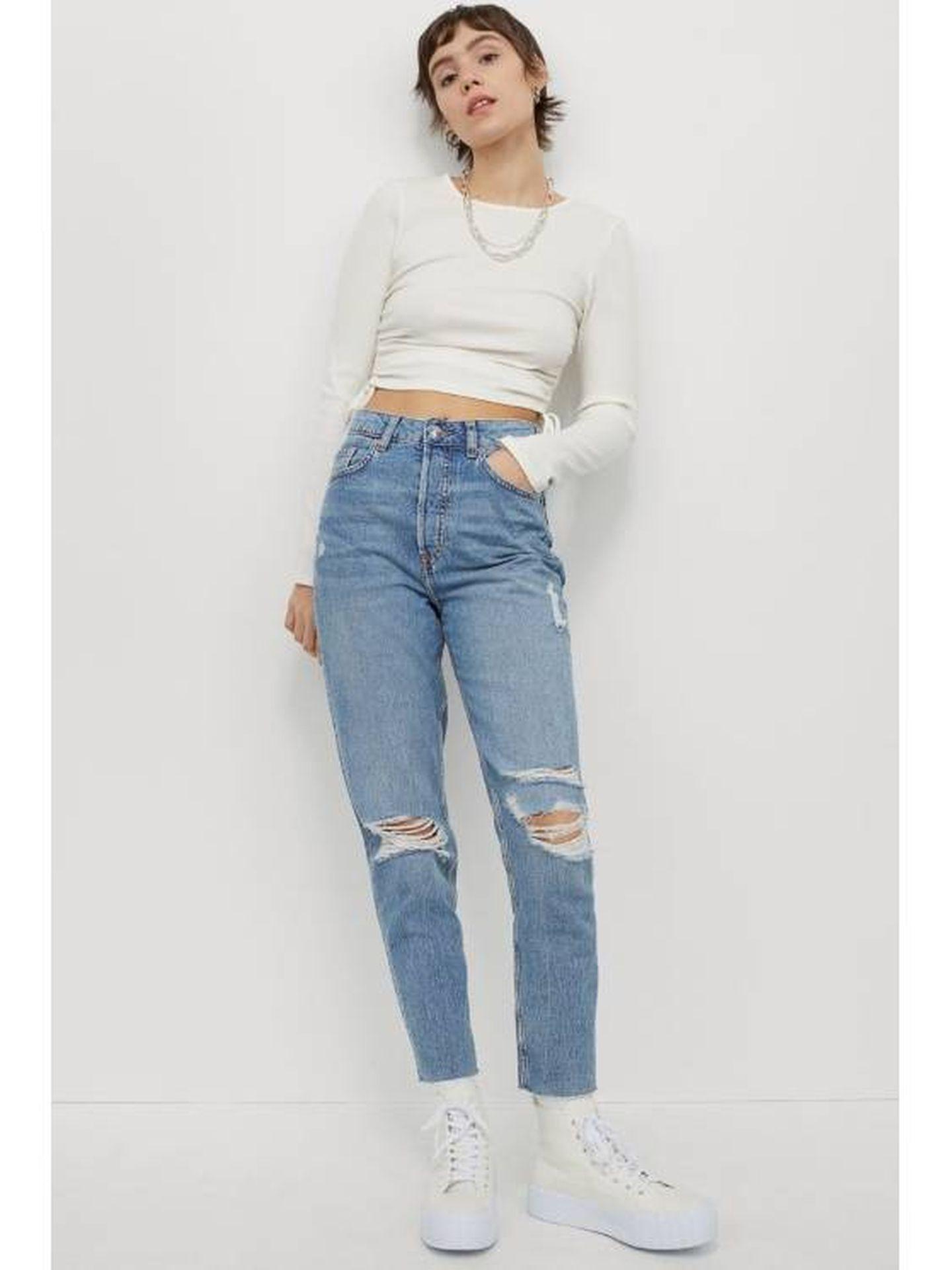 Los jeans de HyM que tiene la influencer Rocío Osorno. (Cortesía)