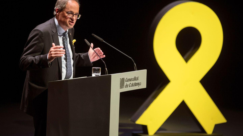El presidente de la Generalitat, Quim Torra, durante su discurso en el Teatro Nacional de Cataluña. (EFE)