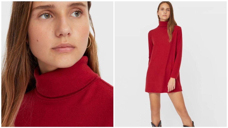 Vestido rojo de Stradivarius. (Cortesía)