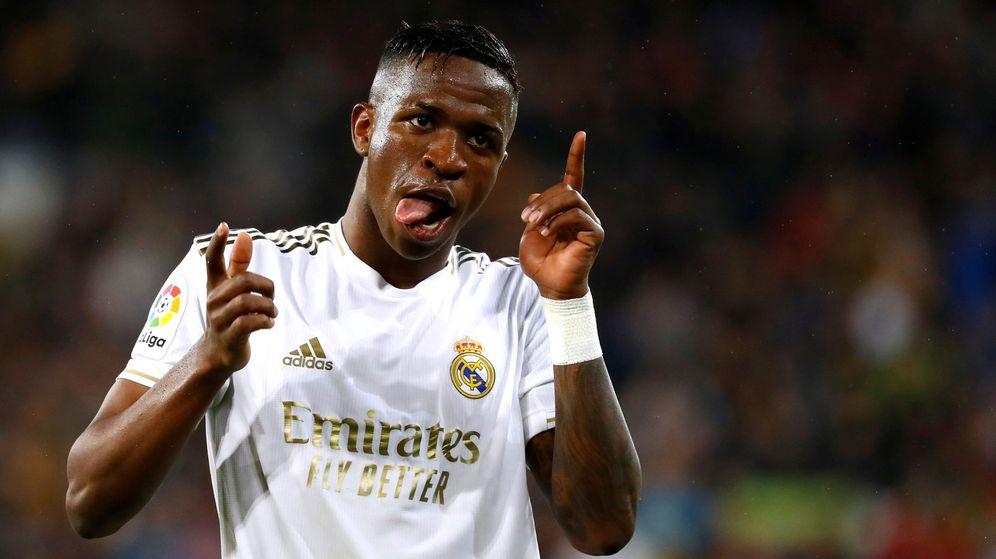 Foto: Vinícius celebra un gol en un partido del Real Madrid. (EFE)