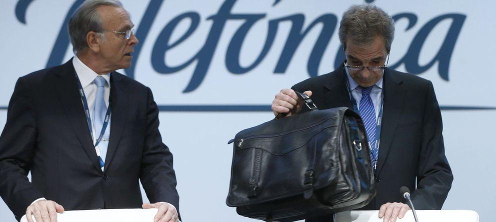 Foto: El presidente de Telefónica, César Alierta, y el presidente de la Caixa, Isidro Fainé. (EFE)