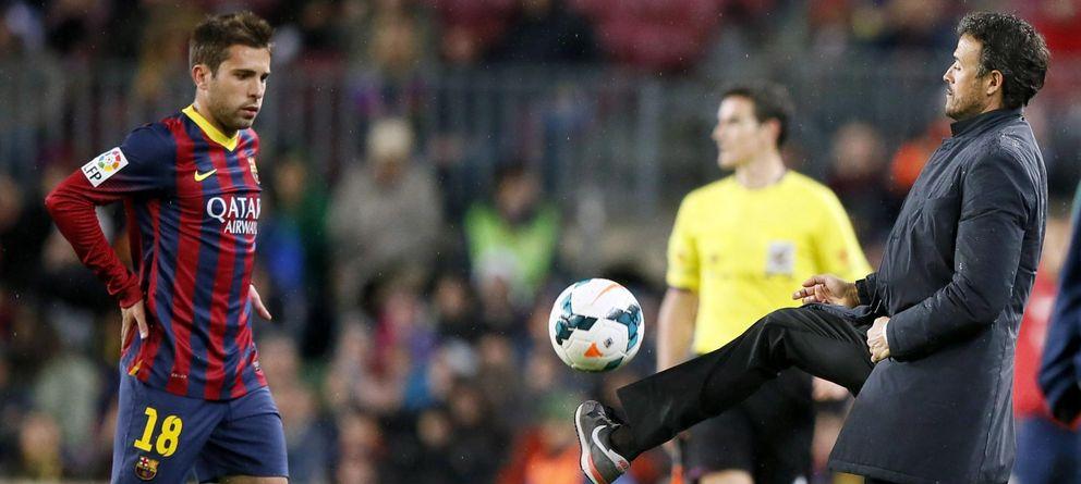 Foto: Luis Enrique (d), en la visita del Celta al Camp Nou el pasado mes de marzo.
