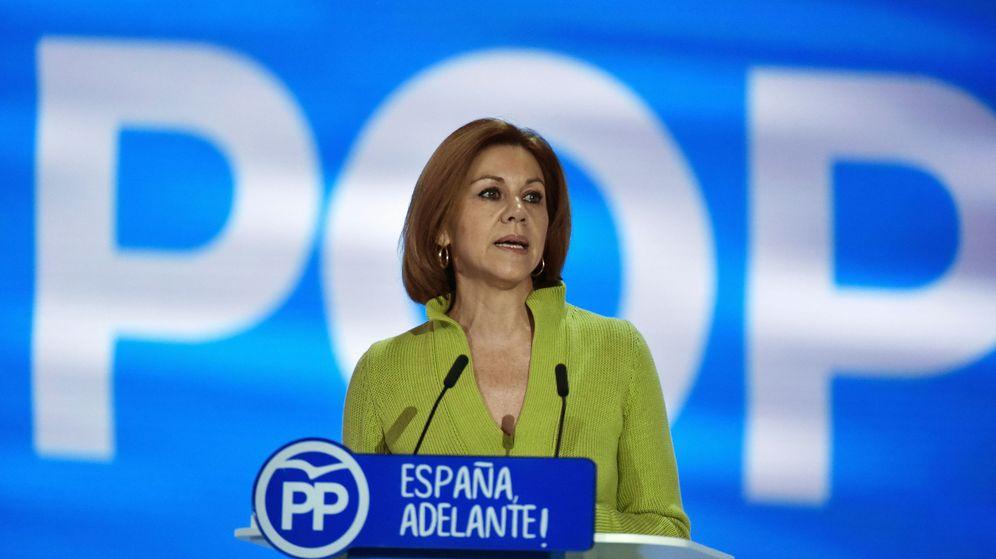 Foto: La secretaria general del PP, María Dolores de Cospedal, durante su intervención en el acto de clausura del XVIII Congreso nacional del Partido Popular. (EFE)