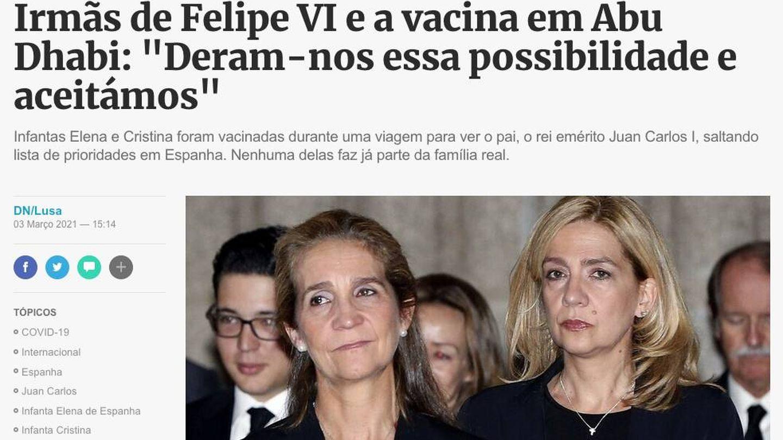 El titular del 'Diario de Noticias' portugués.