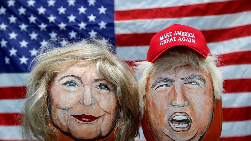 Foto: Los rostros de Hillary Clinton y Donald Trump pintados en calabazas decorativas por un artista de Illinois, junio de 2016 (Reuters)