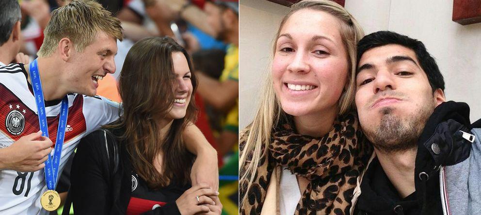 Foto: A la izquierda, Toni Kroos y Jessica Farber. A la derecha, Sofía Balbi y Luis Suárez (Getty/Twitter)