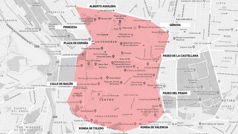 Foto: Perímetro que abarca la superzona de Madrid central. (EC)