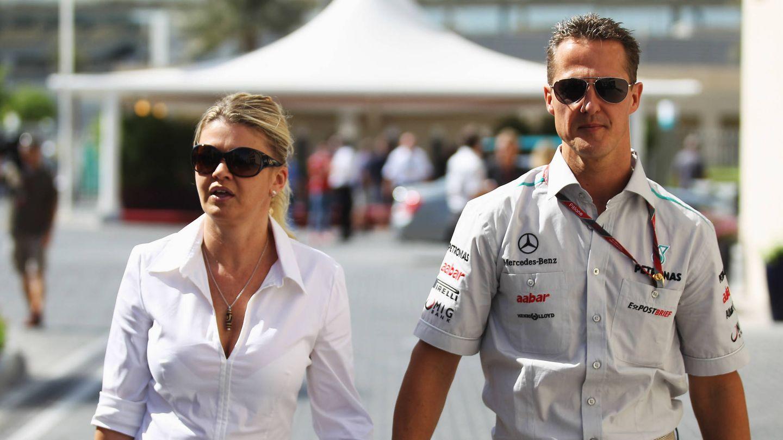 Corinna y Michael Schumacher en el GP de Fórmula Uno de Abu Dhabi, en 2011. (Getty)