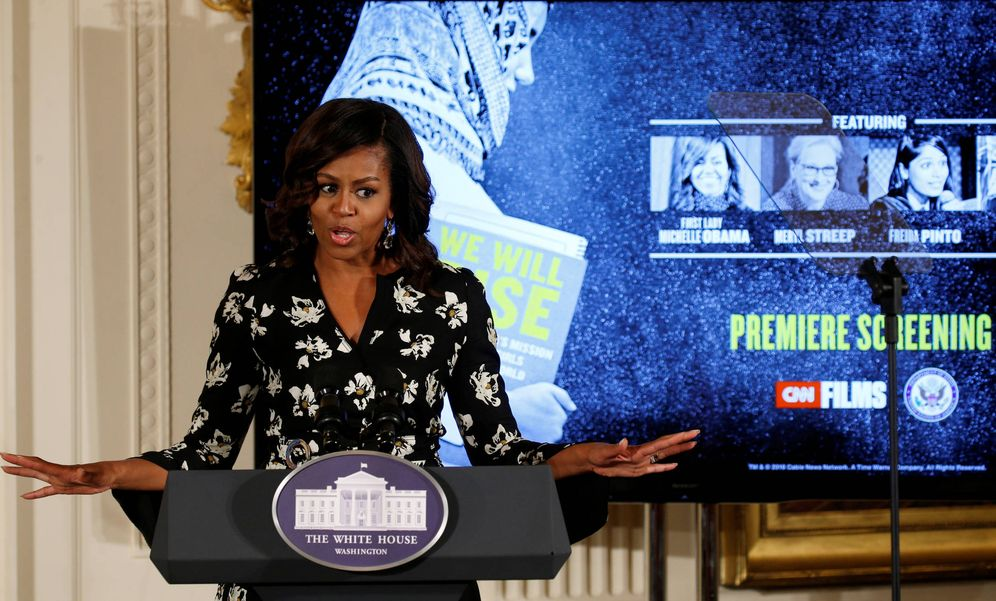 Foto: Michelle Obama pronuncia un discurso durante un evento en Washington, el 11 de octubre de 2016 (Reuters).