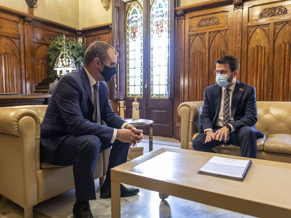 Foto: Jordi Ballart junto a presidente de la Generalitat Pere Aragonès. (Twitter @ajterrassa)