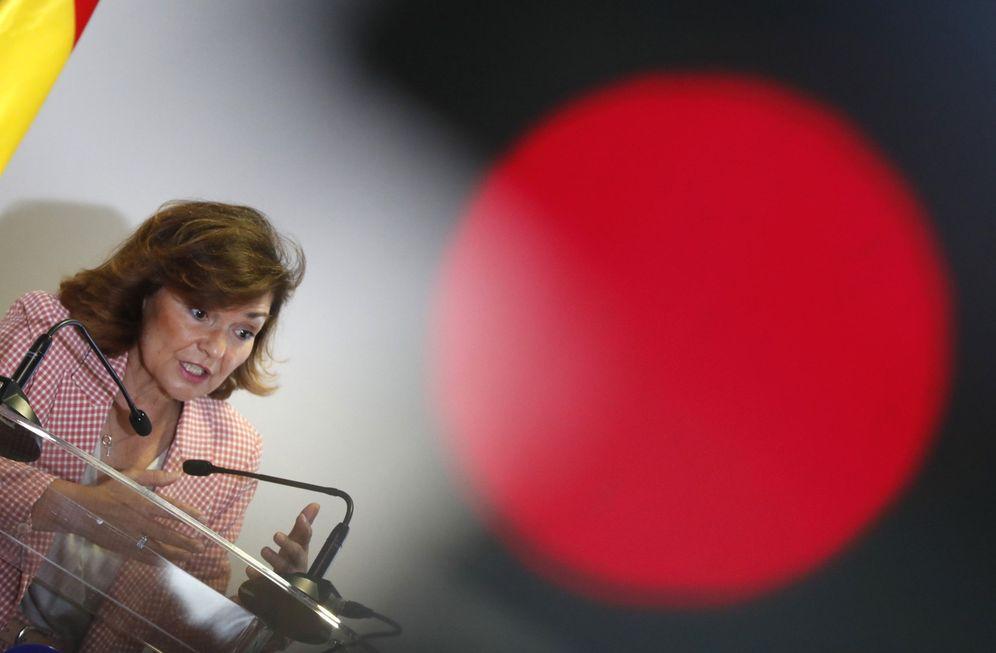 Foto: Carmen Calvo asiste a la presentación de la nueva página web del BOE, este 19 de junio. (EFE)