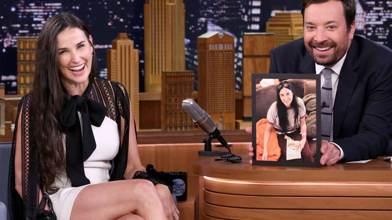 Demi Moore en 'The Tonight Show' con Jimmy Fallon. (Getty)