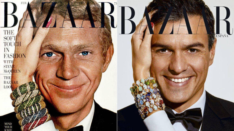 Portadas de Steve McQueen y Pedro Sánchez. (Harper's Bazaar España)