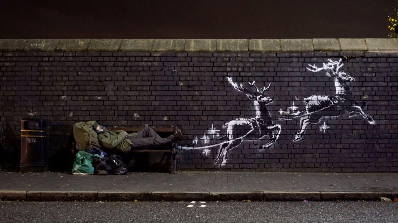 Una persona sin hogar, protagonista de la nueva obra de Banksy sobre la Navidad