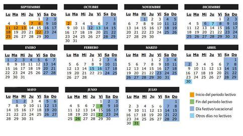 Calendario escolar del curso 2017-2018: festivos y lectivos en Madrid