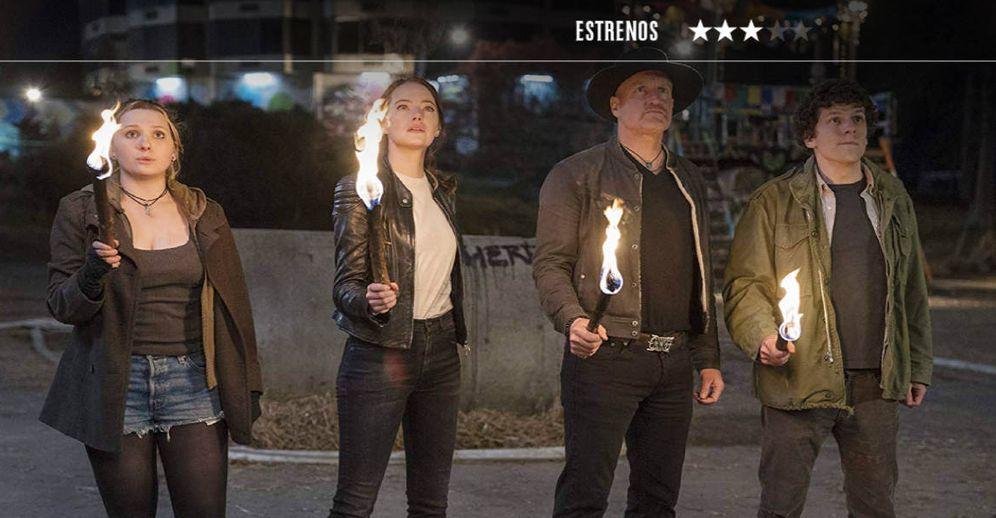 Foto: Abigail Breslin, Emma Stone, Woody Harrelson y Jesse Eisemberg, en 'Zombieland: mata y remata'. (Sony)