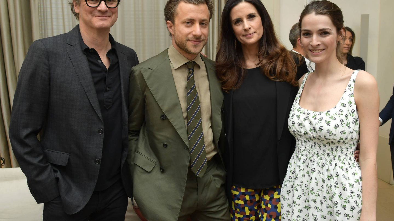 Colin Firth, Francesco Carrozzini, Livia Firth y Bee Shaffer, hace unas semanas en Nueva York. (Getty)