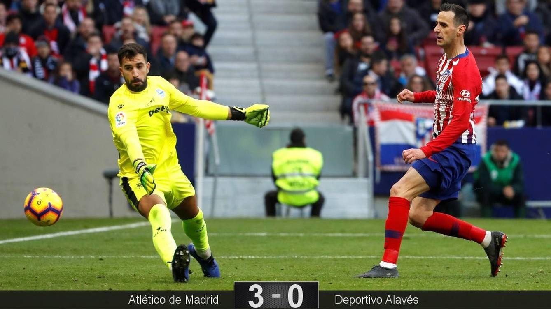 Foto: Kalinic marcó su primer gol en Liga con el Atlético de Madrid. (EFE)