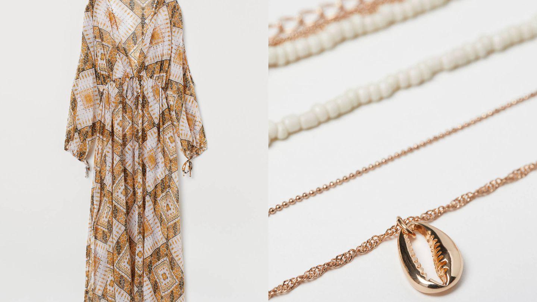 Caftán dorado (39,99€) y collar con concha (7,99€).