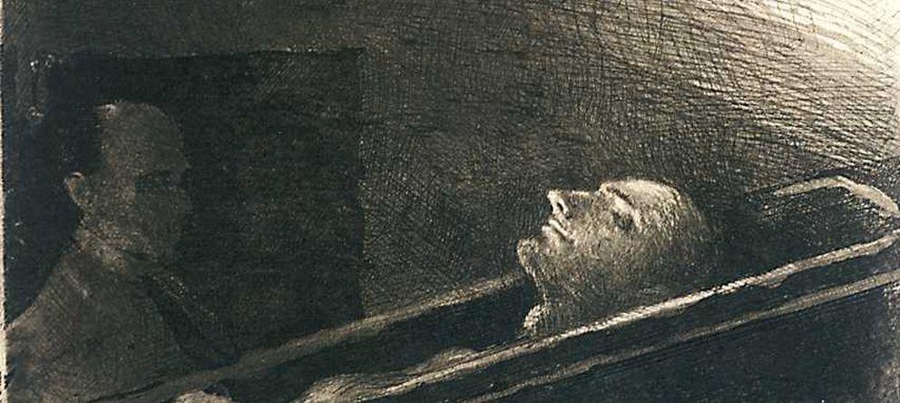 Foto: Retrato de Mateo Morral en la cripta del Buen Suceso, el 3 de junio de 1906, hecho por Ricardo Baroja (1871-1953) en aguafuerte. (BNE)