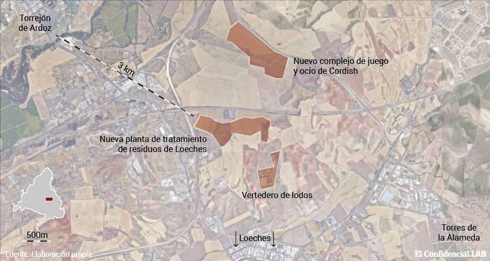 Foto: Mapa de situación de los vertederos cercanos a Loeches