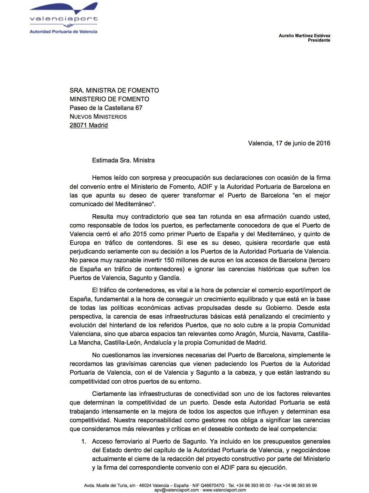 Pincha para leer la carta de Aurelio Martínez, presidente del Puerto de Valencia, a la ministra Ana Pastor.