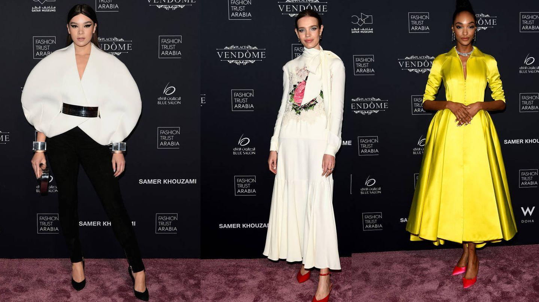 Hailee Stainfeld, Natalia Vodianova y Jordann Dunn en la alfombra de los premios. (Getty)