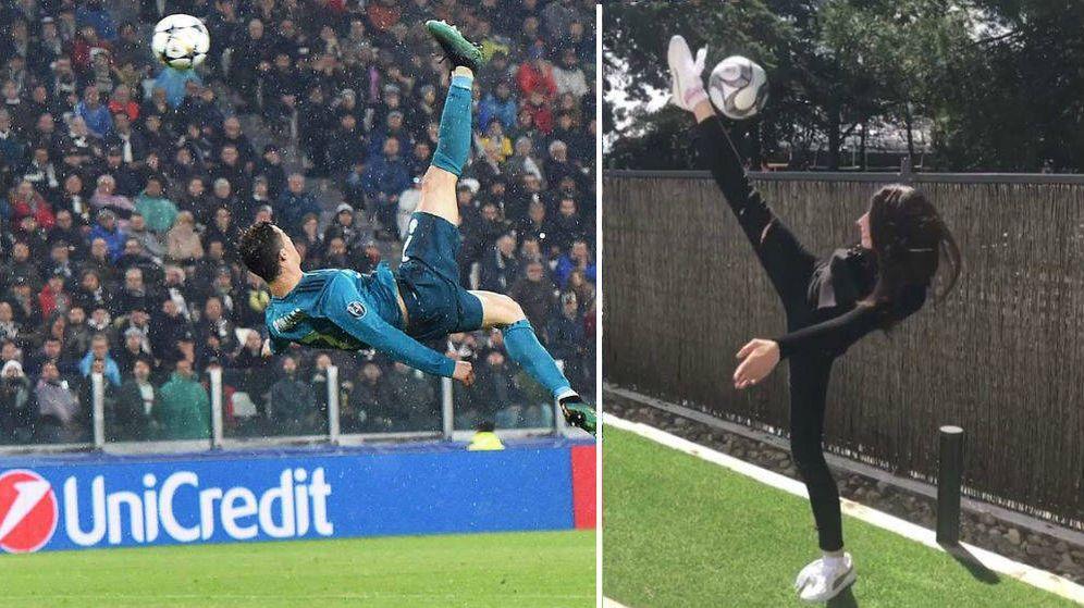 Foto: Las chilenas de Cristiano Ronaldo y de Almudena Cid