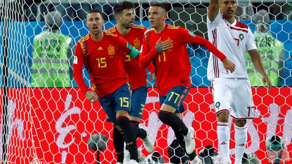Foto: Iago Aspas, celebrando su importante gol ante Marruecos. (Reuters)