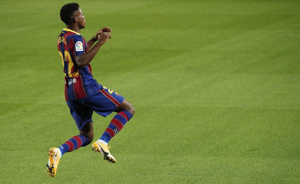 Foto: Ansu Fati celebra su segundo al Villarreal en el Camp Nou. (REUTERS)
