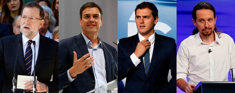 Foto: Mariano Rajoy, Pedro Sánchez, Albert Rivera y Pablo Iglesias (Fotomontaje: Vanitatis)