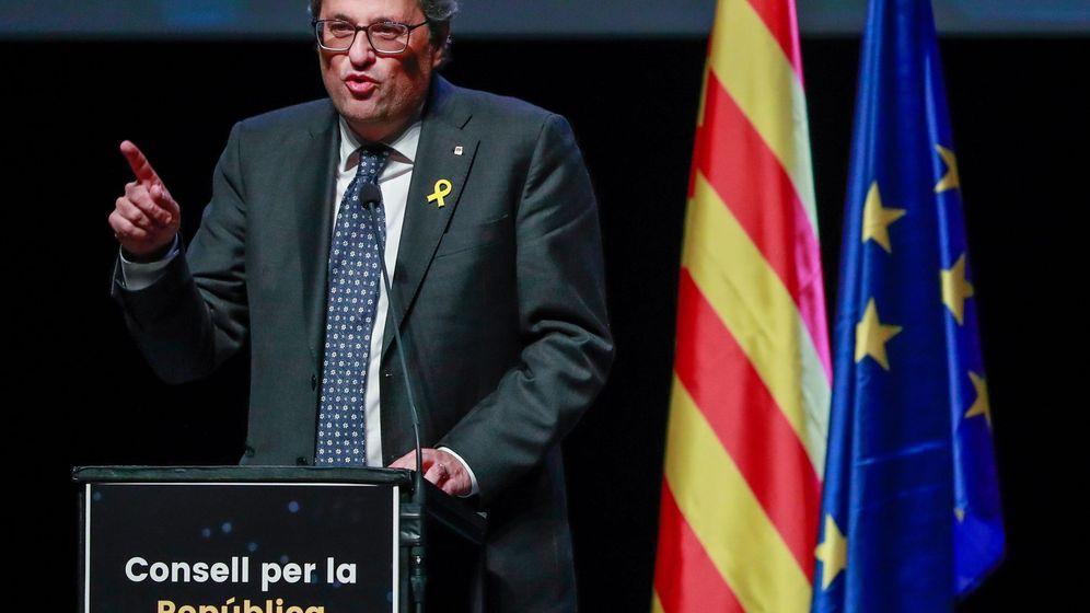 Foto: Quim Torra en la presentación del Consell per la República en Bruselas. (EFE)