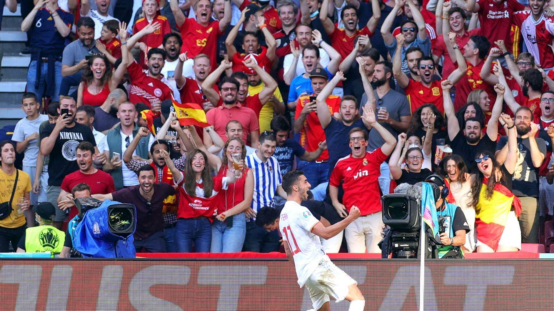 Ferrán celebra el gol ante Croacia. (EFE)