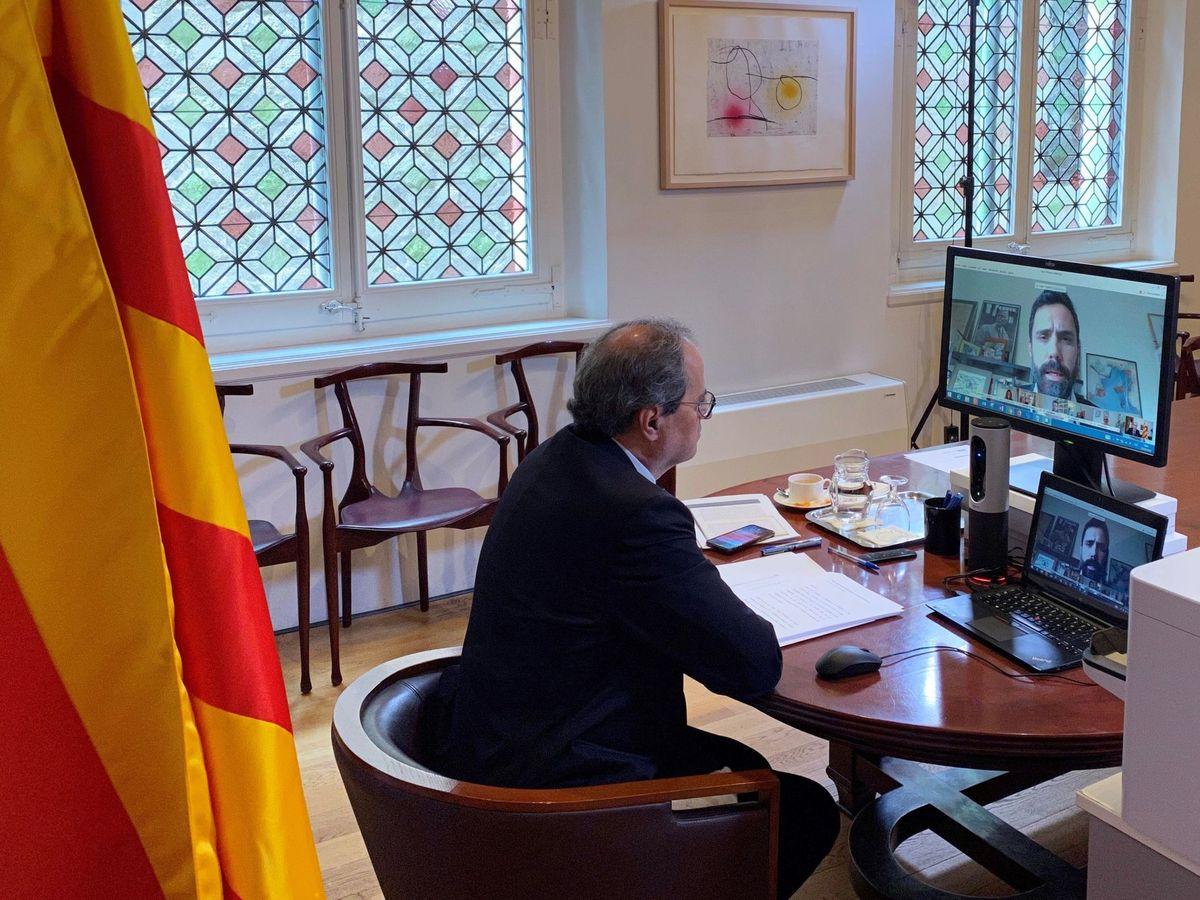 Foto: Quim Torra, durante una sesión parlamentaria virtual. (EFE)