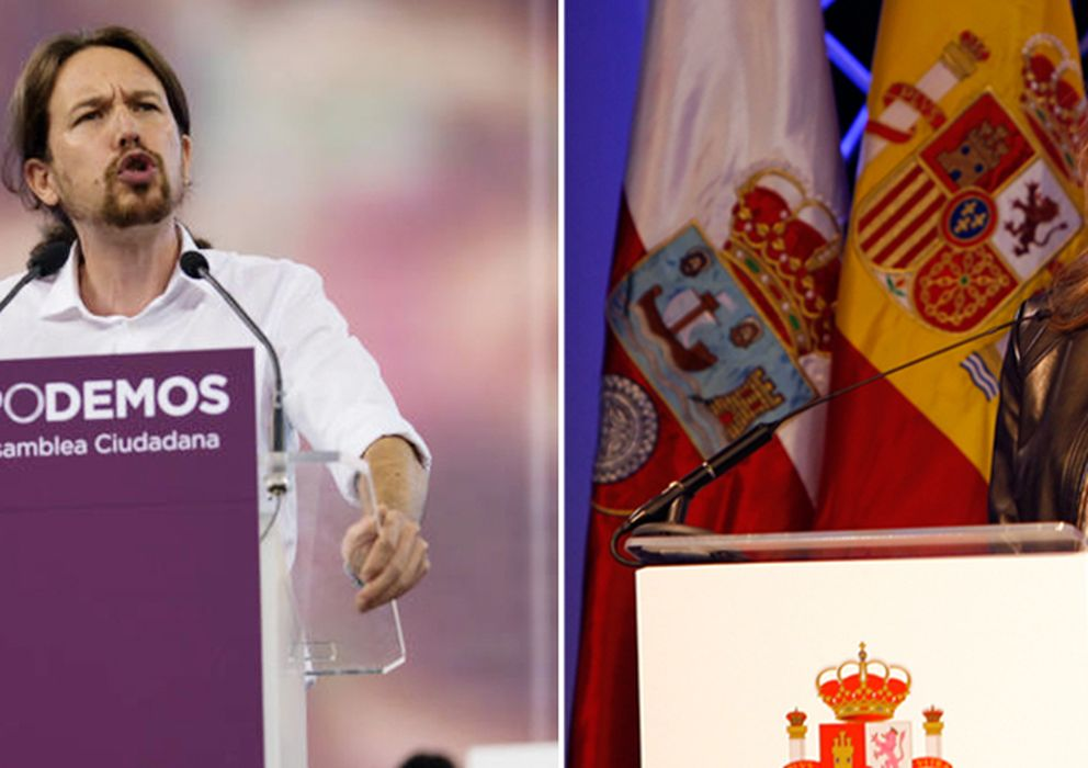 Foto: Imagen comparativa entre Pablo Iglesias y la Reina Doña Letizia en distintos discursos (EFE)