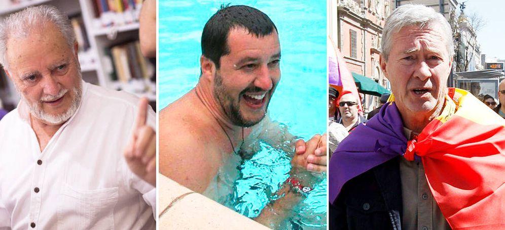 Foto: Julio Anguita, Matteo Salvini (c) y Verstrynge (d). (EFE)