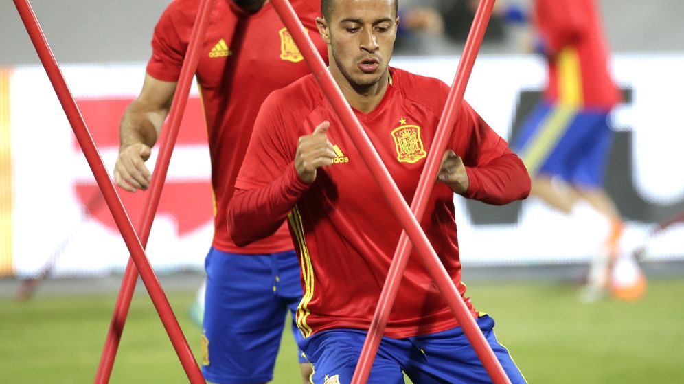 Foto: Thiago, en un entrenamiento con España (Reuters)