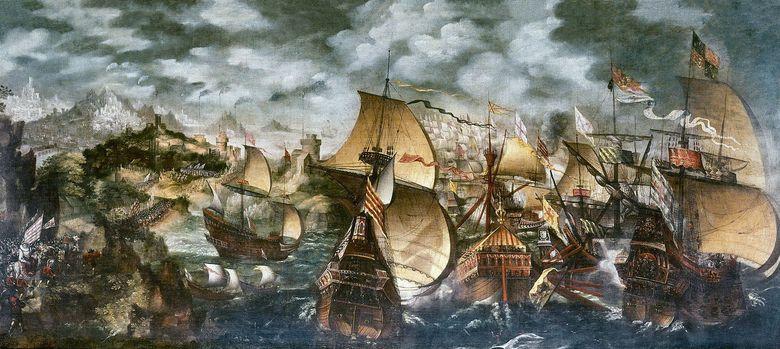 Foto: La Armada Invencible navegando frente a Cornualles. (Nicholas Hilliard)