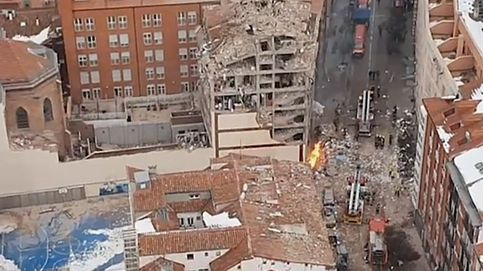 Vista aérea de la explosión en la calle de Toledo (Madrid) que ha dejado cuatro fallecidos