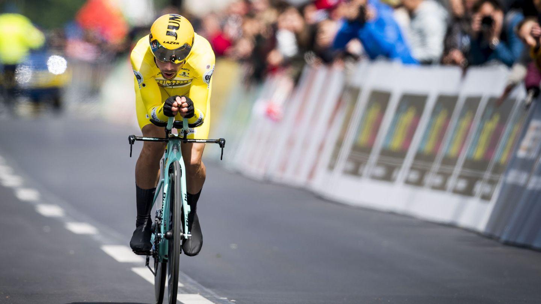 Roglic, de líder durante la crono del Tour de Romandía. (EFE)