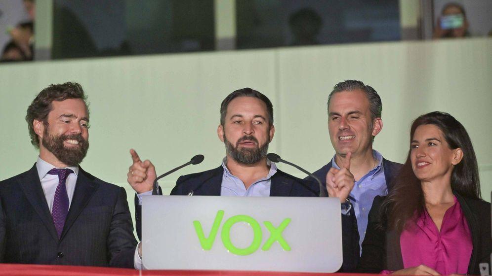Foto:  Iván Espinosa de los Monteros, Santiago Abascal, Javier Ortega Smith y Rocío Monasterio celebran los resutlados electorales.