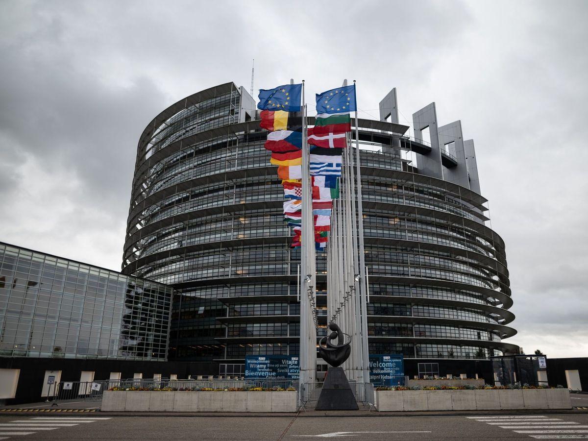 Foto: Las banderas nacionales de los Estados miembros de la Unión Europea ondean a la entrada del Parlamento Europeo en Estrasburgo (Francia). (EFE)