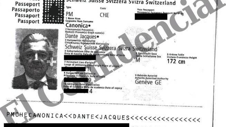 Pasaporte de Dante Canonica, presunto testaferro del rey Juan Carlos.